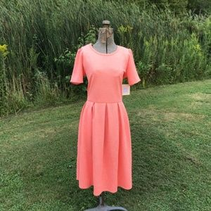 NWT LuLaRoe Solid Coral Textured Amelia Dress